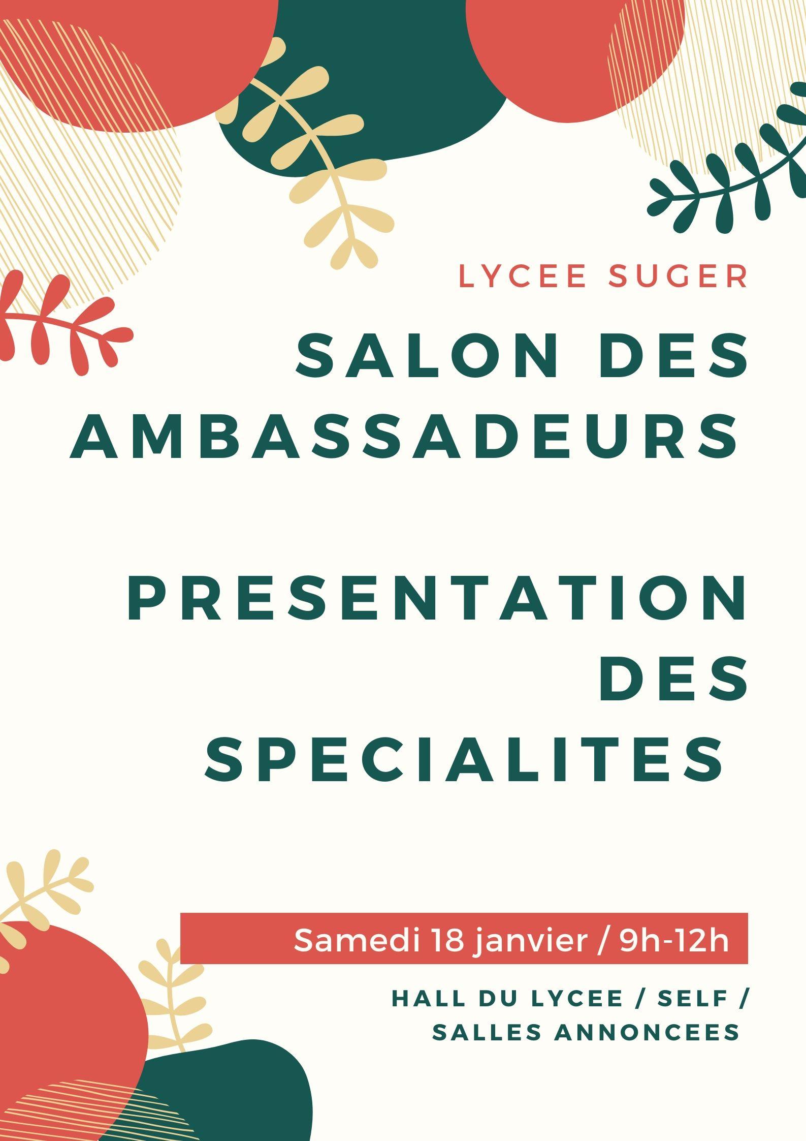 Salon des ambassadeurs / Présentation des spécialités – samedi 18 janvier